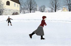 Na obeazku, kobiea jeżdżca na łyżwach na lodowisku, w tle dziecko na łyżwach